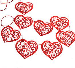 Гирлянда-растяжка Ажурные сердца