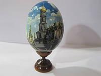 Яйцо расписное на подставке дерево (бук), Харьков пезаж около Успенского собора