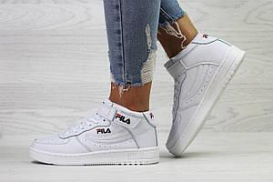 Подростковые высокие кроссовки Fila,белые