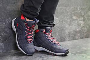 Высокие мужские кроссовки Columbia,темо синие с красным,на меху