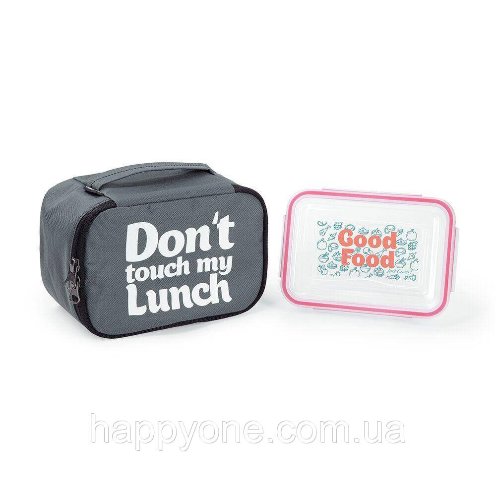 "Термосумка ""Ланч бэг Don't touch my lunch"" mini (серая)"