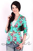 Женский укороченный пиджак Lipar Бирюза
