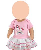 Одежда для куклы до 43см (платье с единорогом, розовое )