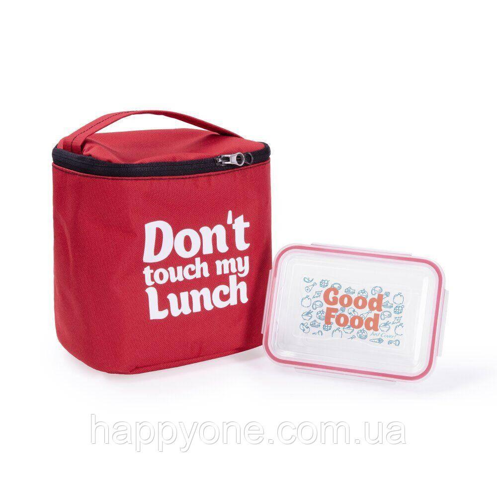 "Термосумка ""Ланч бэг Don't touch my lunch"" maxi (красная)"