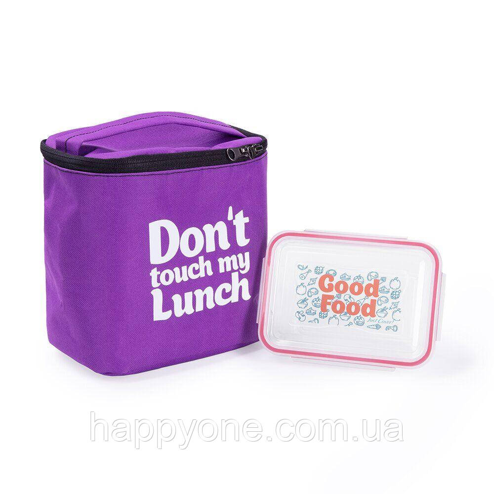 "Термосумка ""Ланч бэг Don't touch my lunch"" maxi (фиолетовая)"