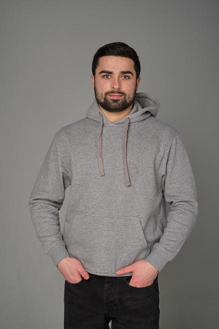 Мужская толстовка с капюшоном JHK KANGAROO цвет темно-серый меланж (GM)