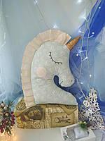 Іграшка-подушка єдиноріг з золотим рогом . 100% бавовна. 45см., фото 4