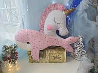 Іграшка-подушка єдиноріг з золотим рогом . 100% бавовна. 45см., фото 5