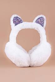 Меховые наушники Котик с блестками (белые) MN1010