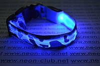 Ошейник светящийся для собак Камуфляж - самый яркий Синий