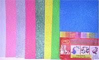 Флексика, фоамиран, бомик набор, цвета микс, с глиттером самоклеящийся №0267-8, фото 1