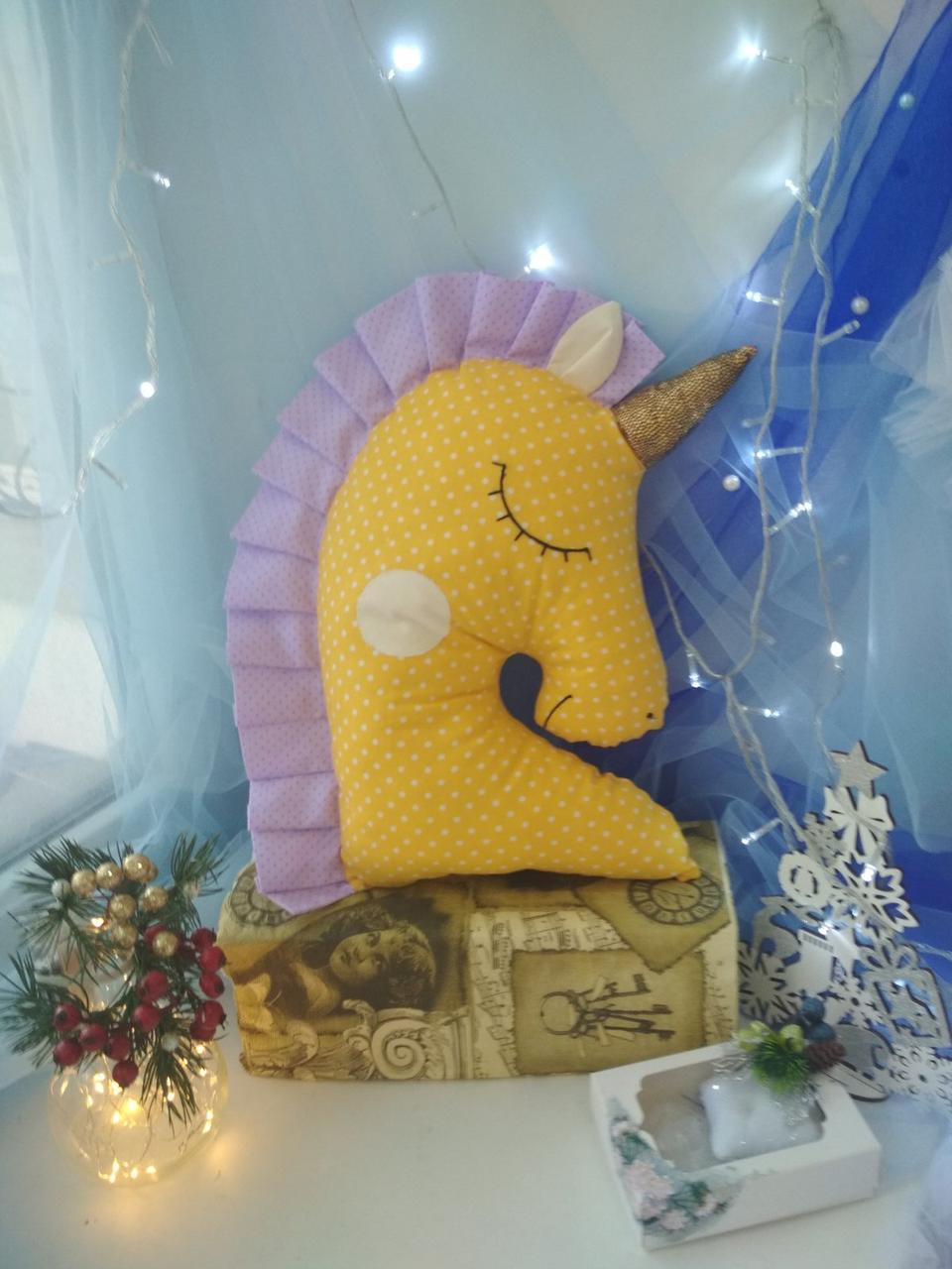 Іграшка-подушка єдиноріг з золотим рогом. 45см