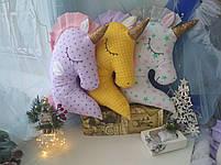 Іграшка-подушка єдиноріг з золотим рогом. 45см, фото 2