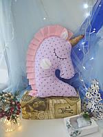 Іграшка-подушка єдиноріг з золотим рогом. 45см, фото 3