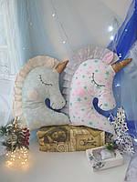 Іграшка-подушка єдиноріг з золотим рогом. 45см, фото 4