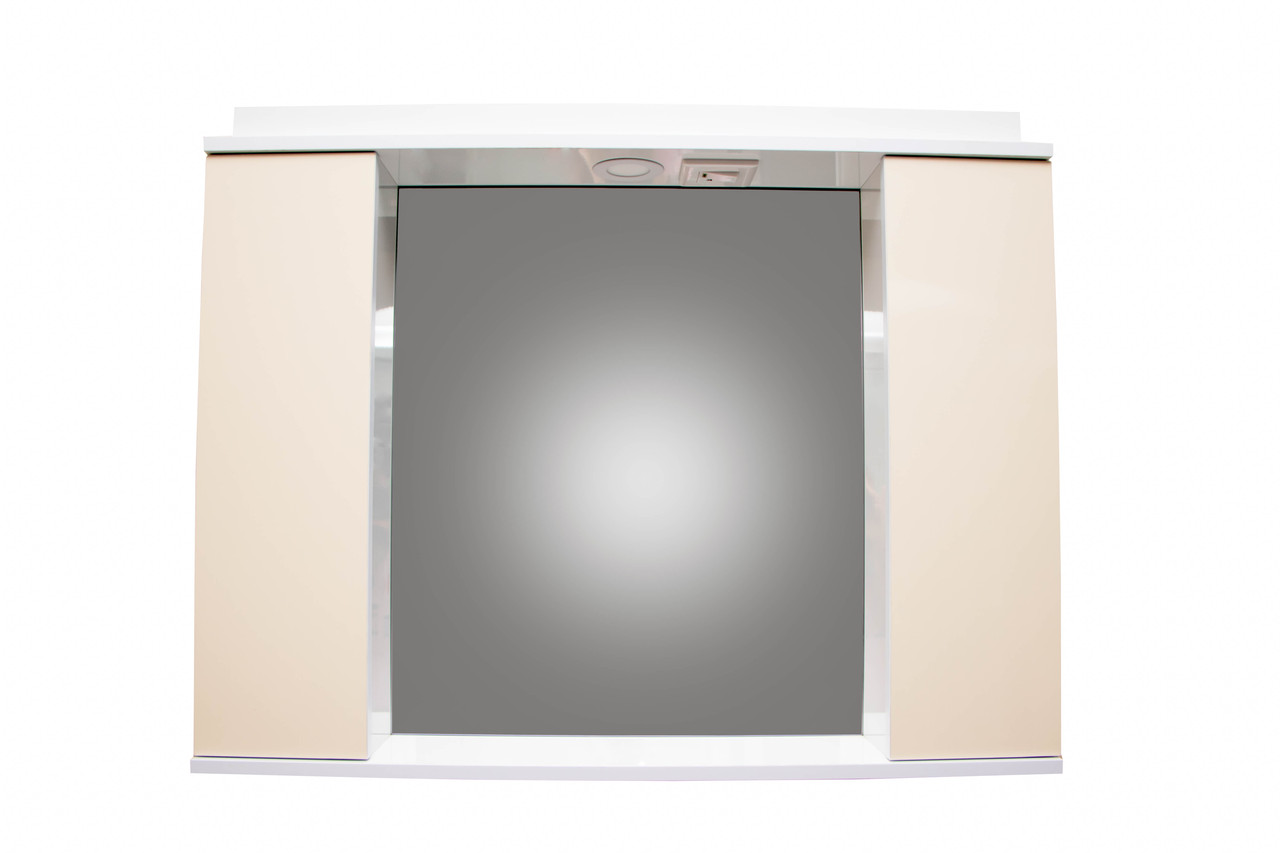 Зеркало 95см для ванной комнаты с подсветкой,розеткой и шкафчиками , бежевое