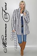 Женская шуба из искусственной норки, Серо - голубая норка № 34