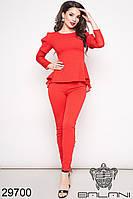 Костюм женский красный брючный с шифоном (размеры S M L)