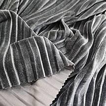 Ткань бархат стрейч серый плиссе, фото 3