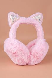 Меховые наушники с ушками в блёстках (розовые) MN1002