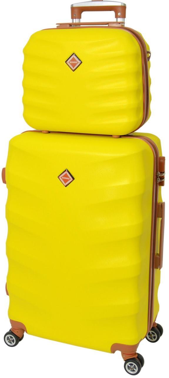 Комплект валіза і кейс Bonro Next середній жовтий (10066807)