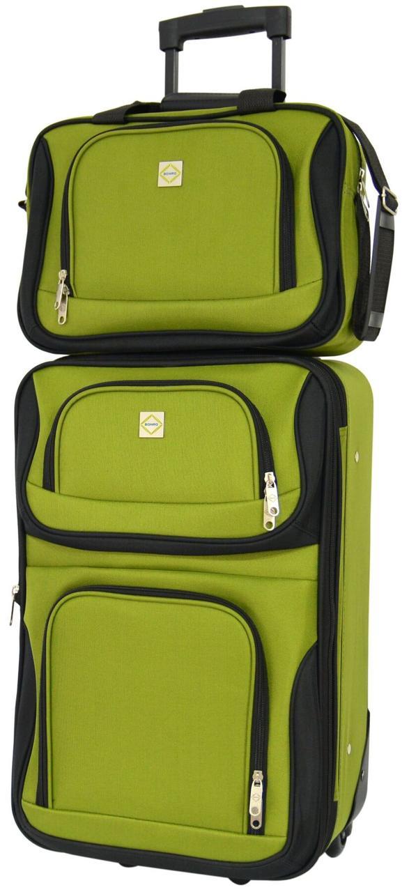 Комплект валіза і сумка Bonro Best маленький зелений (10080501)