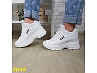 Сникерсы кроссовки на платформе с танкеткой белые, эко-кожа+текстиль