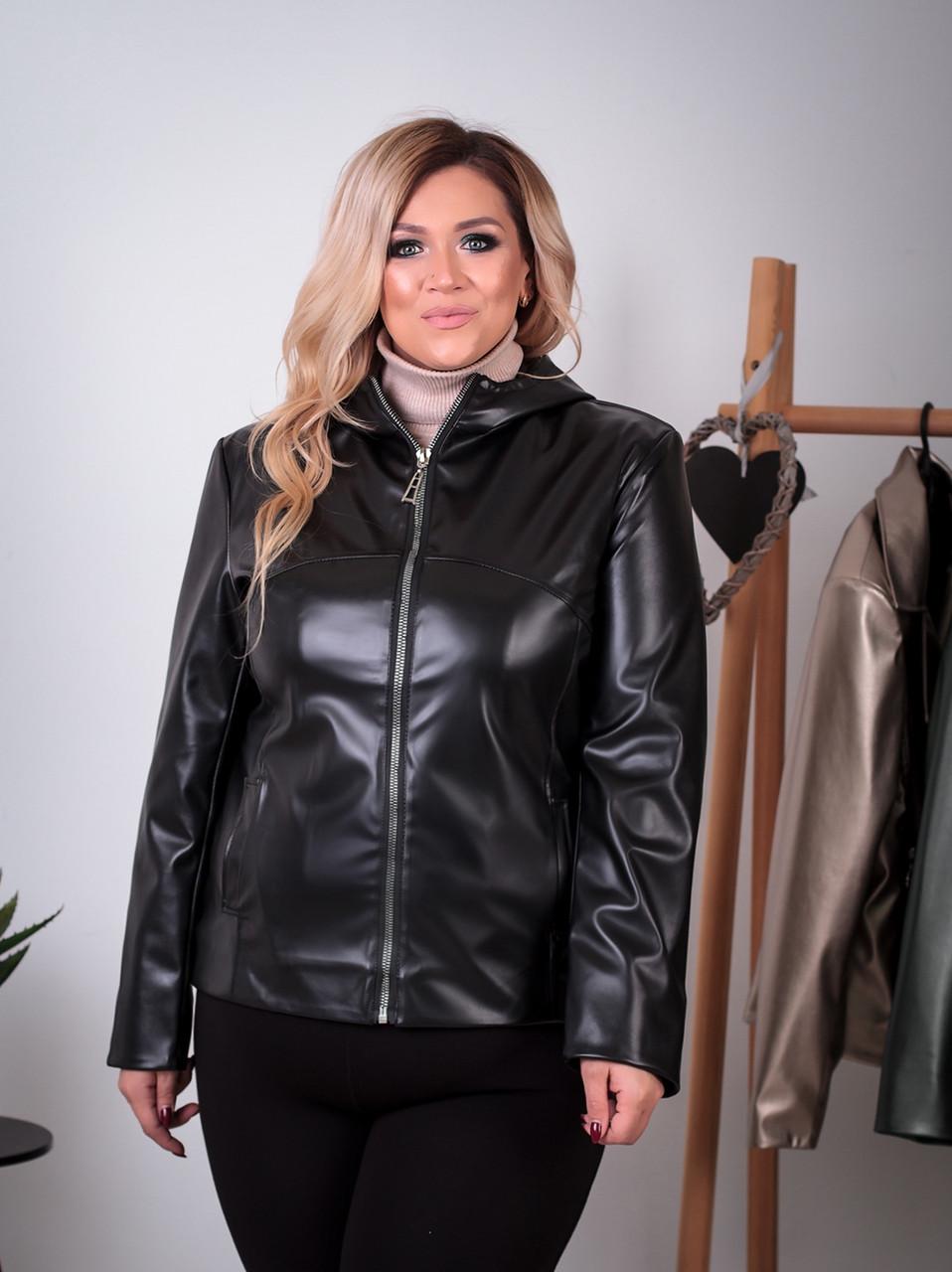 Женская демисезонная куртка больших размеров из эко-кожи р. 52-62
