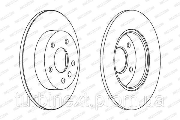 Тормозной диск задний OPEL ASTRA G 02/98-07/04 ASTRA H 03/04- FERODO DDF1044