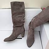 Женские замшевые сапоги на невысоком каблуке, фото 2