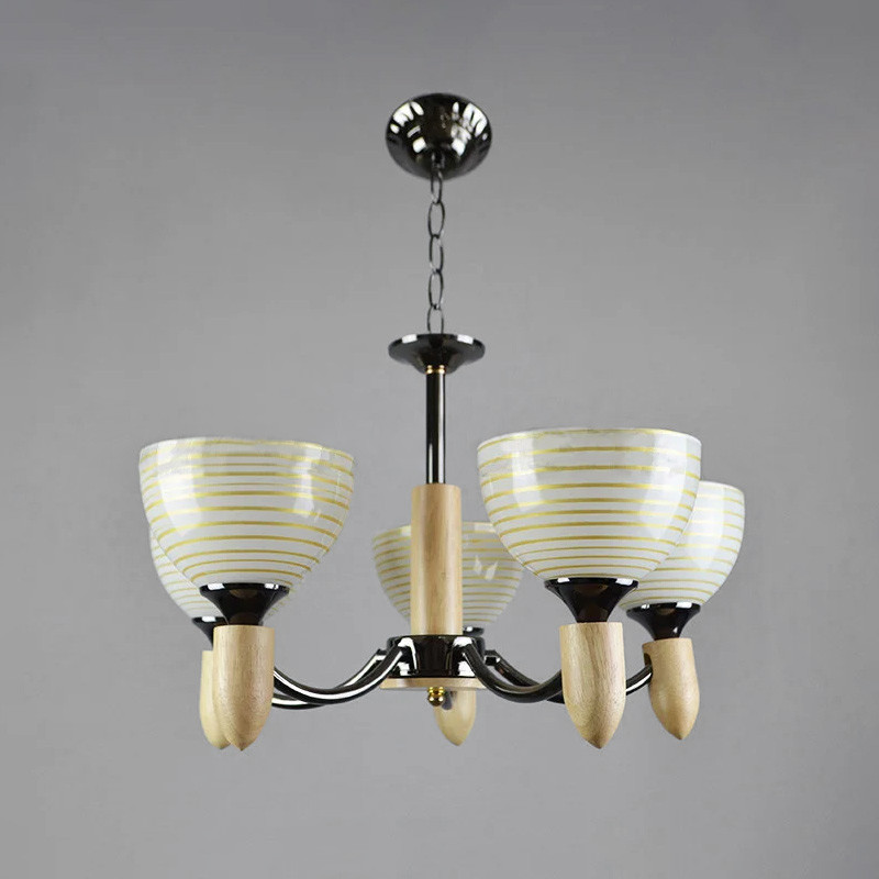 Люстра подвесная на пять ламп NM-814266/5 BK черная