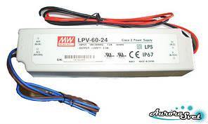 Mean Well LPV-60-24. Драйвера світлодіодів. LED драйвер. Світлодіодний драйвер.
