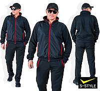 Мужской  теплый черный спортивный костюм с плащевкой. 3 варианта!