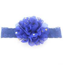 Детская синяя повязка на голову - окружность головы приблизительно 40-52см, диаметр цветка 10см