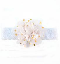 Детская белая повязка на голову - окружность головы приблизительно 40-52см, диаметр цветка 10см