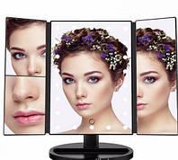 Зеркало тройное для макияжа Superstar Magnifying Mirror с LED-подсветкой прямоугольное с увеличением черное, фото 1