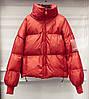 Куртка-пуховик женская оранжевая,  молодежная теплая металлик, оверсайз  S\M? опт