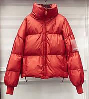 Куртка-пуховик женская оранжевая,  молодежная теплая металлик, оверсайз  S\M? опт, фото 1
