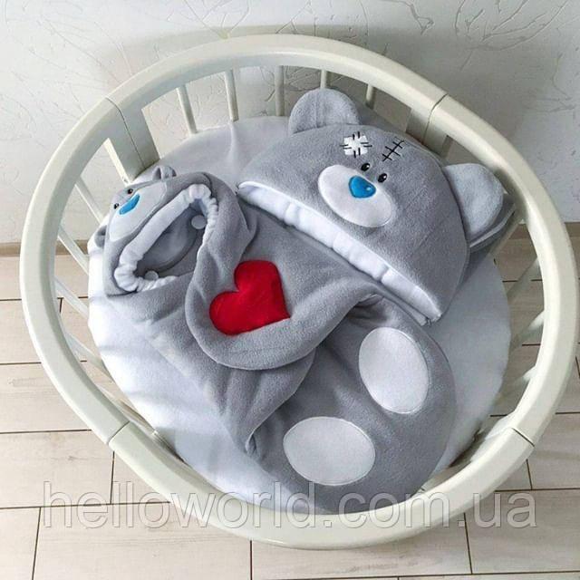 Комбинезон-кокон 0-3мес Тедди светло-серый