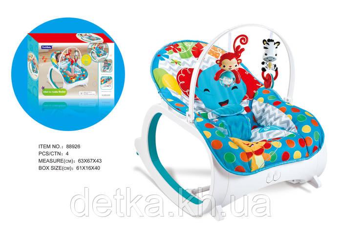 Детский шезлонг-качалка,Fitch Baby, 88926 2в1 0-18кг вибрац.мелод.