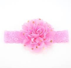 Детская светло-розовая повязка на голову - окружность головы приблизительно 40-52см, диаметр цветка 10см