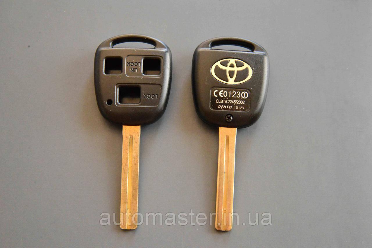 Корпус для авто ключа TOYOTA Land Cruiser (Тойота Ленд Крузер) 3 - кнопки, лезвие TOY40