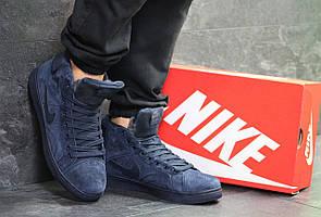 Высокие зимние кроссовки Nike Jordan замшевые,темно синие