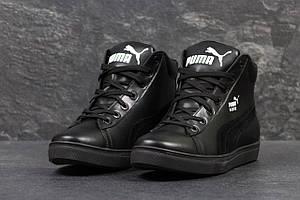 Зимние кроссовки кожаные Puma Suede,черные,на меху