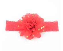 Детская красная повязка на голову - окружность головы приблизительно 40-52см, диаметр цветка 10см