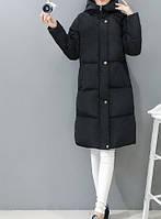 Женский зимний дутый пуховик с капюшоном, черный, размеры S, L, XL, фото 1