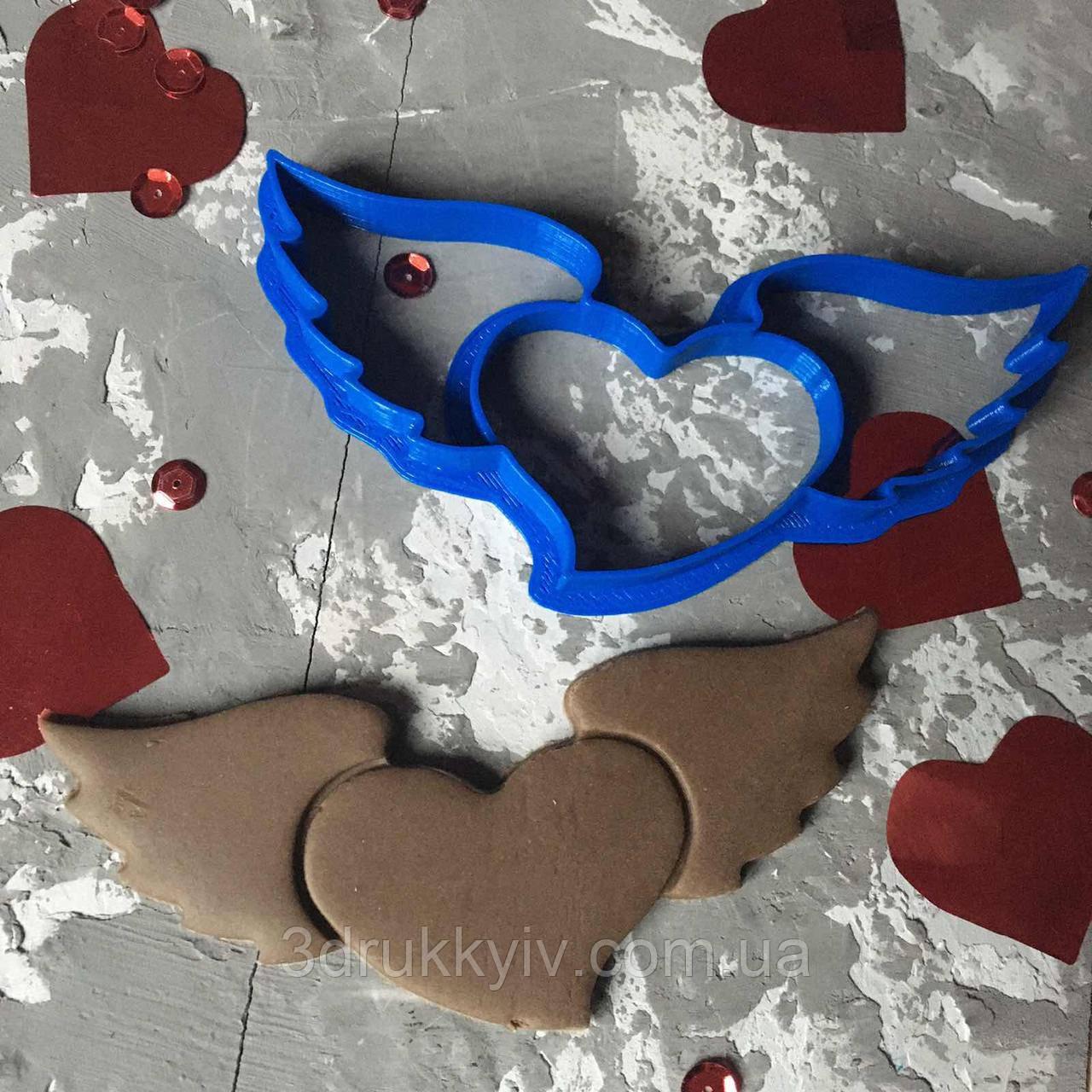 """Вирубка """"Серце з крилами"""" / Вырубка - формочка для пряников """"Сердце с крыльями"""""""