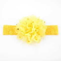 Детская желтая повязка на голову - окружность головы приблизительно 40-52см, диаметр цветка 10см