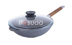 Сковорода чугунная WOK с деревянной ручкой и стеклянной крышкой Биол (1526с)
