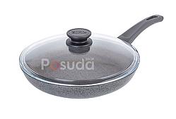 Сковорода Биол антипригарная с стеклянной крышкой Оптима-Гранит 26 см 26048ПС